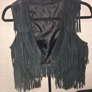 Fringe leather vest